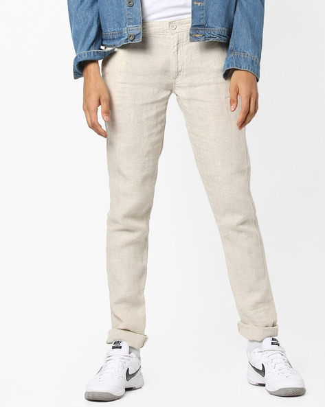 Mid-Rise Flat-Front Chinos By Celio ( White )
