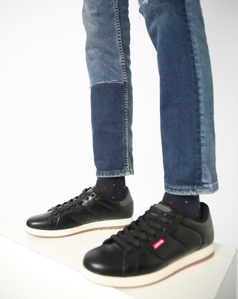 Panelled Lace-Up Shoes By LEVIS ( Black )
