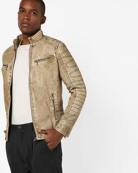 Slim Fit Open-Front Biker Jacket By The Indian Garage Co ( Khaki )