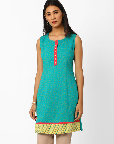 Printed Kurta With Contrast Hem By AJIO ( Teal )