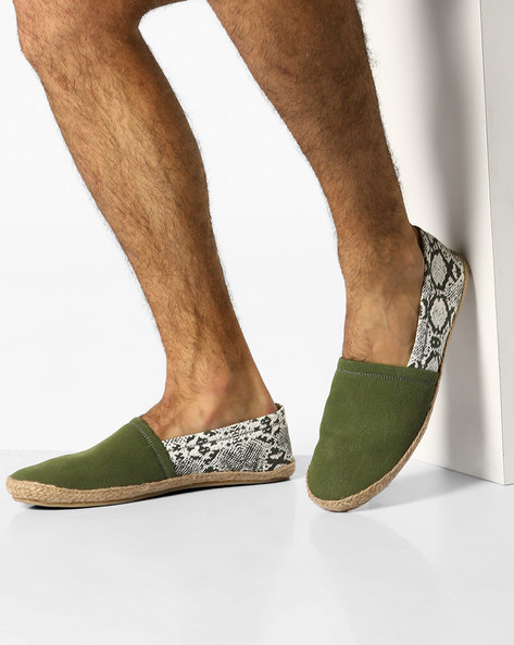N9-Treated Faux-Leather Espadrilles By AJIO ( Olive )