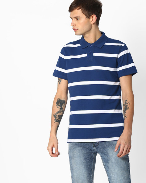 Striped Polo T-shirt With Ribbed Collar By Blue Saint ( Multicolor )