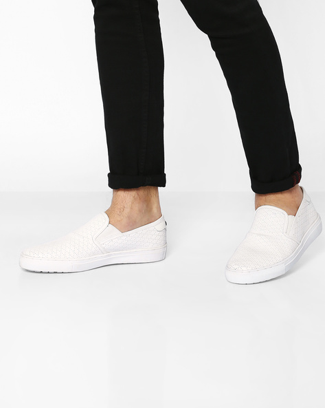 Genuine Leather Perforated Slip-Ons With Elasticated Gussets By Carlton London ( White )