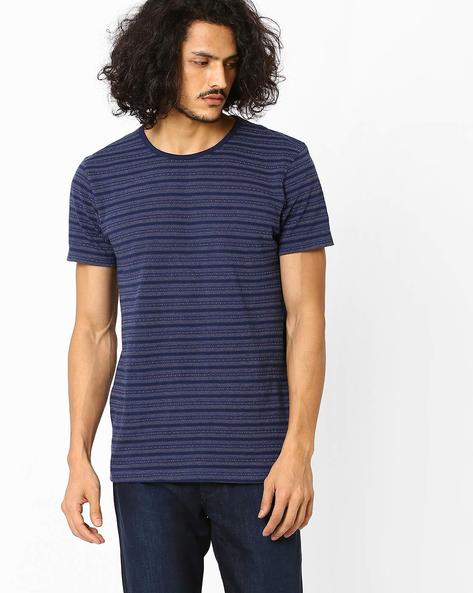 Slim Fit Striped T-shirt By VOI JEANS ( Navy )