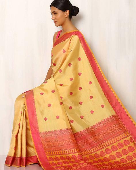 Handwoven Buti Pure Silk Resham Border Saree By Rudrakaashe-MSU ( Gold )
