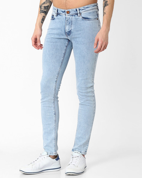 Lightly Washed Skinny Jeans By Celio ( Lightblue )