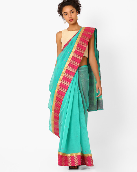 Mirror Work Saree With Contrast Border By Amori ( Green )