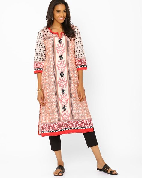 Printed Kurta With Bobble Trim By Rangriti ( Beige ) - 440704487003