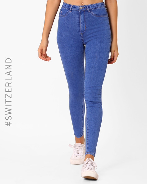 High-Rise Skinny Fit Jeans By TALLY WEiJL ( Lightblue )