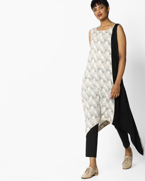 Geometric Print Colourblock Kurta By PE IW Casual ( Grey )