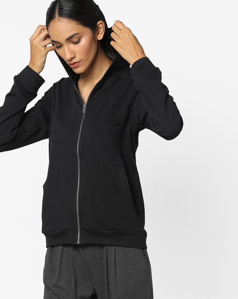 Zip-Front Hooded Sweatshirt By Project Eve WW Athleisure ( Black )