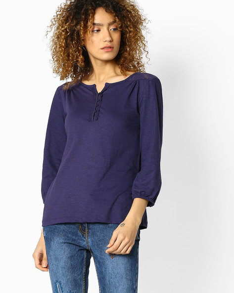 Henley Top With Lace Detail By DNM X ( Navy )