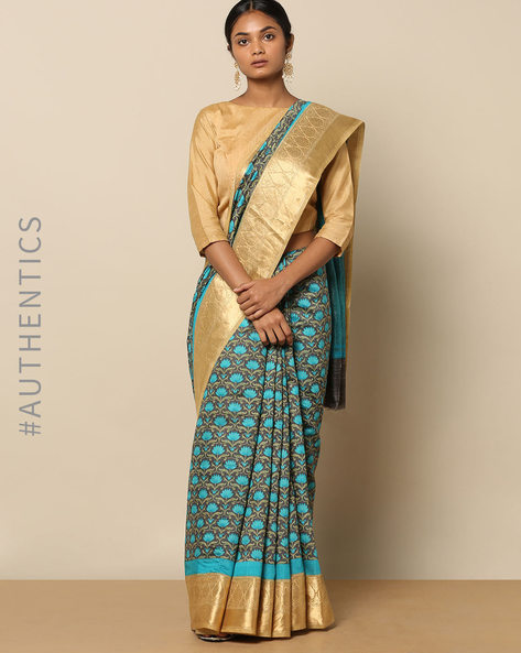 Pure Silk Tussar Lotus Jaal Print Saree By Rudrakaashe-MSU ( Blue )