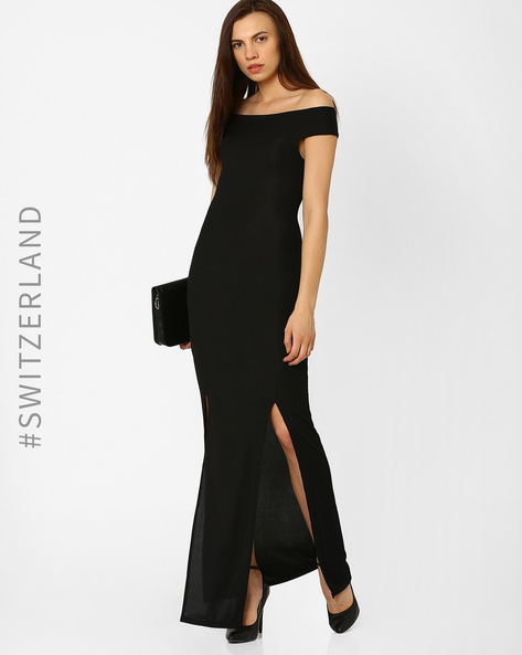 Off-Shoulder Ribbed Bodycon Maxi Dress By TALLY WEiJL ( Black )