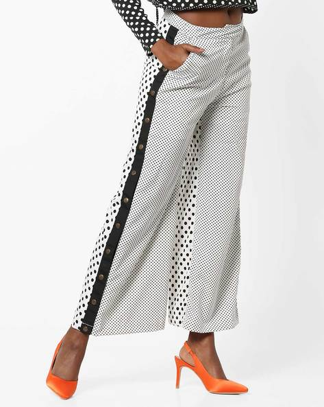 Polka Dot Print Pants With Buttons By AJIO ( Offwhite )