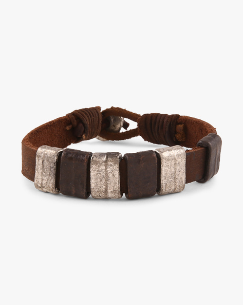 Leather And Metal Bracelet By Ayesha ( Brown )