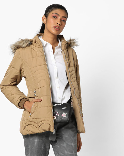 Quilted Bomber Jacket With Hood By Fort Collins ( Coffee )