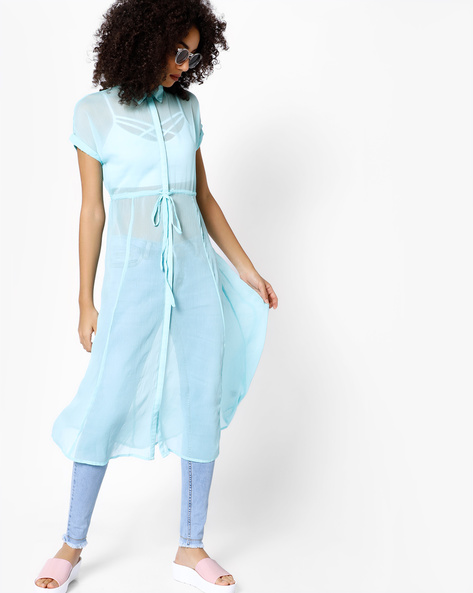 Dress With Tie-Up By COLOUR ME ( Aqua )
