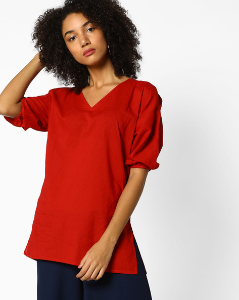 Woven Tunic With Cut-Out Sleeves By AJIO ( Red )
