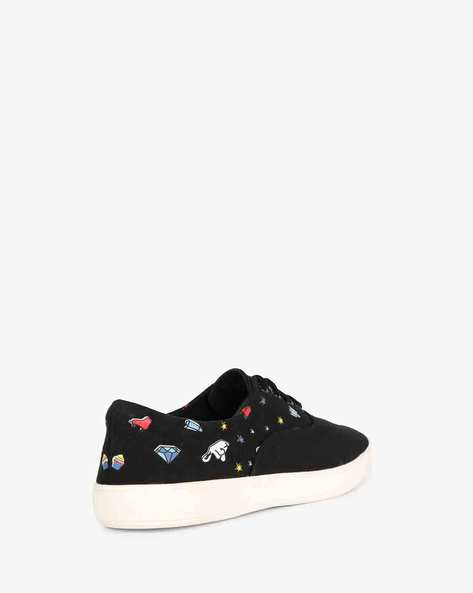 Panelled Lace-Up Casual Shoes By AJIO ( Black )