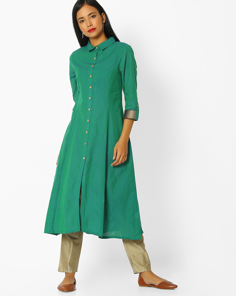 A-line Kurta With Button Placket By AVAASA MIX N' MATCH ( Green )