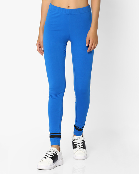 Leggings With Elasticated Waist By AJIO ( Blue )