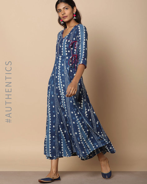 Dabu Handblock Print Indigo Cotton Mull Angarakha-Style Dress By Indie Picks ( Indigo )