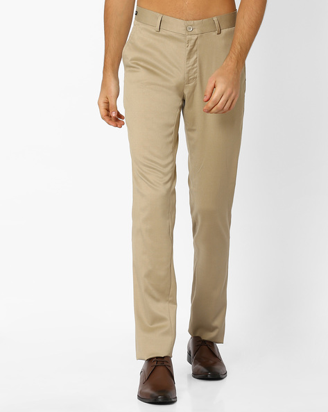Flat-Front Slim Fit Trousers By NETWORK ( Beige )