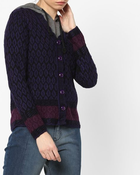 Contrast Knitted Open-Front Cardigan By American Eye ( Purple )