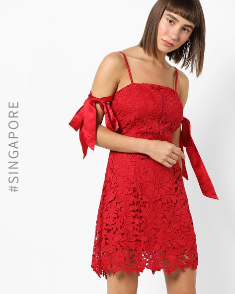 Strappy Lace Dress With Tie-Up Sleeves By MDS ( Red )