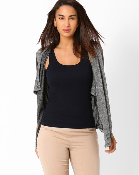 Waterfall Shrug By SF Jeans By Pantaloons ( Grey )