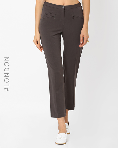 Slim Fit Trousers With Zip Pockets By Marks & Spencer ( Grey )