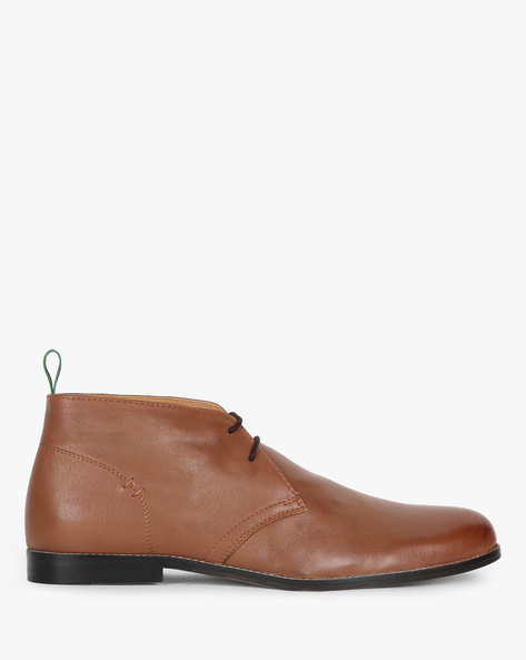 Genuine Leather Formal Shoes With Lace-Ups By Hats Off Accessories ( Tan )