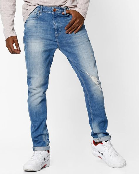 Mid-Rise Mid-Washed Distressed Jeans By UNITED COLORS OF BENETTON ( Blue )