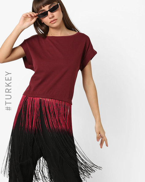 Drop-Shoulder T-shirt With Ombré-Dyed Fringes By TRENDYOL ( Burgundy )
