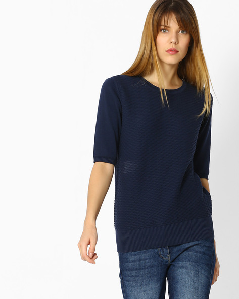 Knitted Cotton Top By FIG ( Navy )