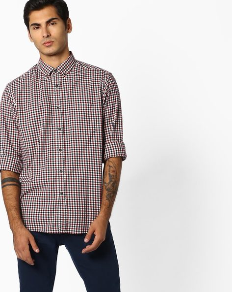 Checked Shirt With Patch Pocket By Marks & Spencer ( Burgundy )