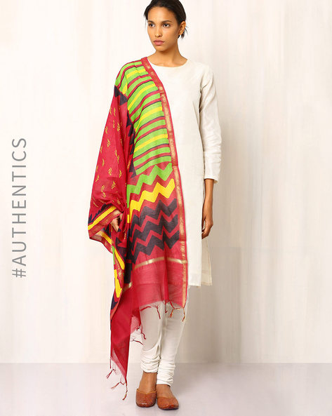 Hand Block Print Chanderi Dupatta With Bold Geometric Motifs By Indie Picks ( Multi )