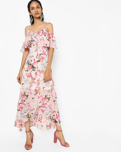 Floral Print Asymmetric A-line Dress By Sassafras ( Pink )
