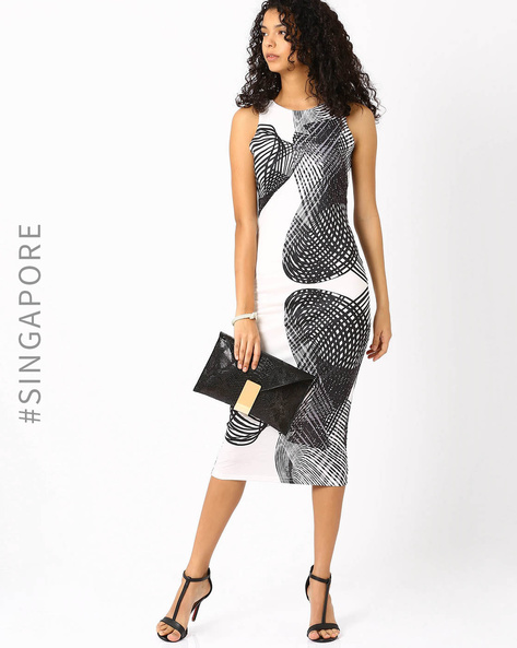 Printed Tailored Dress By MDS ( White )
