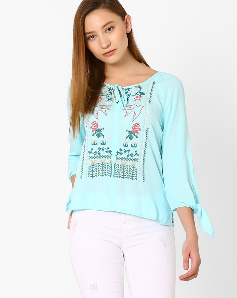 Embroidered Top With Tie-Up By AJIO ( Blue )