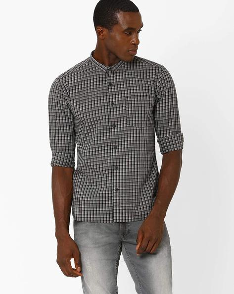 Checked Slim Fit Shirt By VOI JEANS ( Black )