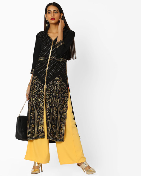Zari Embroidered Kurta With Sequin Embellishments By W ( Black )