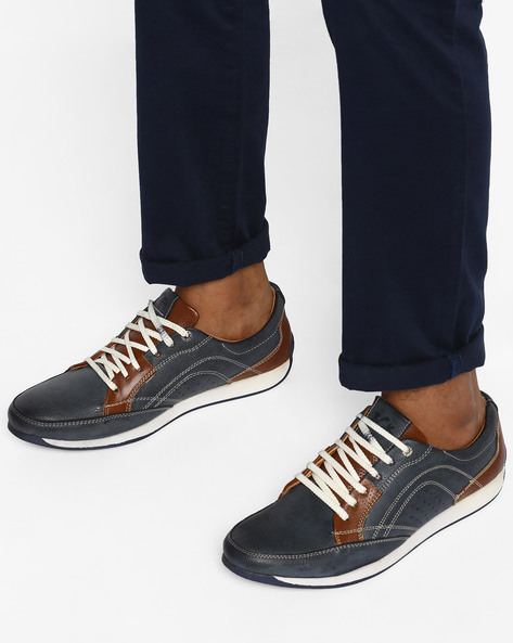 Lace-Up Shoes With Contrast Panels By BUCKAROO ( Blue )
