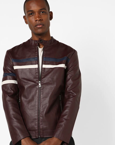 Biker Jacket With Front Zipper By The Indian Garage Co ( Burgundy )