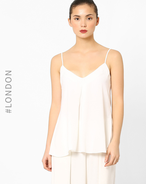 Pleated Cami Top With Back Cutout By Closet London ( White )