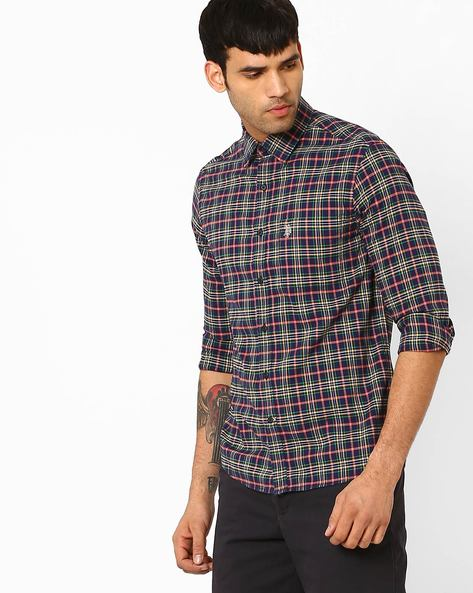 Tailored Fit Checked Shirt By US POLO ( Navy )
