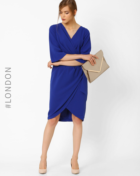 Solid Tulip Dress With Tie-Up By Closet London ( Blue )