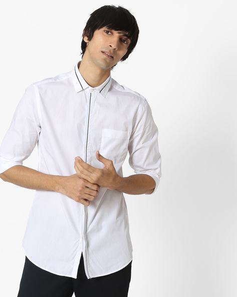 Slim Fit Shirt With Concealed Placket By Black Coffee ( White )