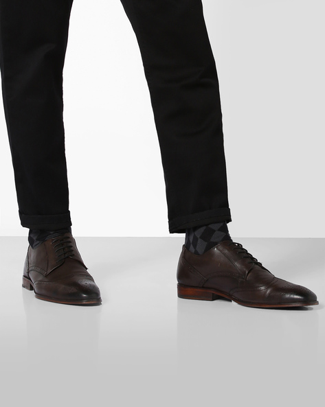 Genuine Leather Brogue Derby Shoes By TEAKWOOD LEATHERS ( Brown )